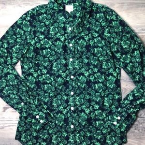 J. Crew The Perfect Shirt Floral Green Button Down